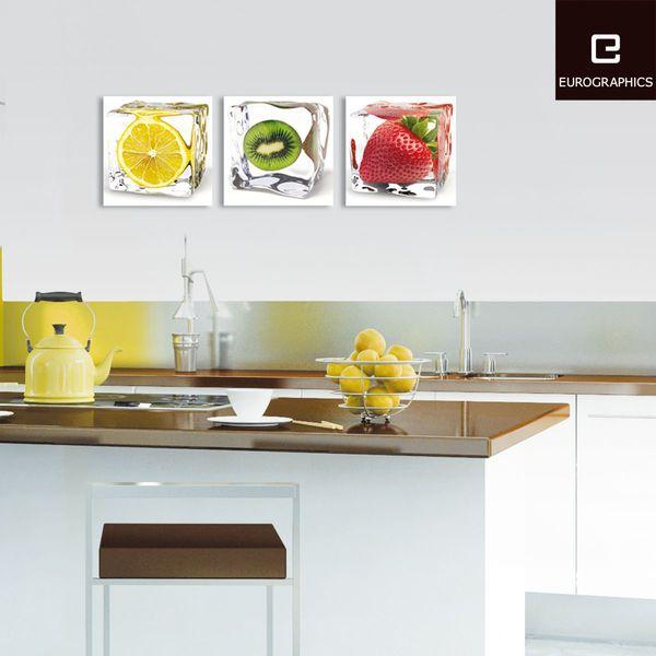 Wanddeko Wandbild Bild Glasbild Küche Bar Obst Gemüse Wasser Eis ...