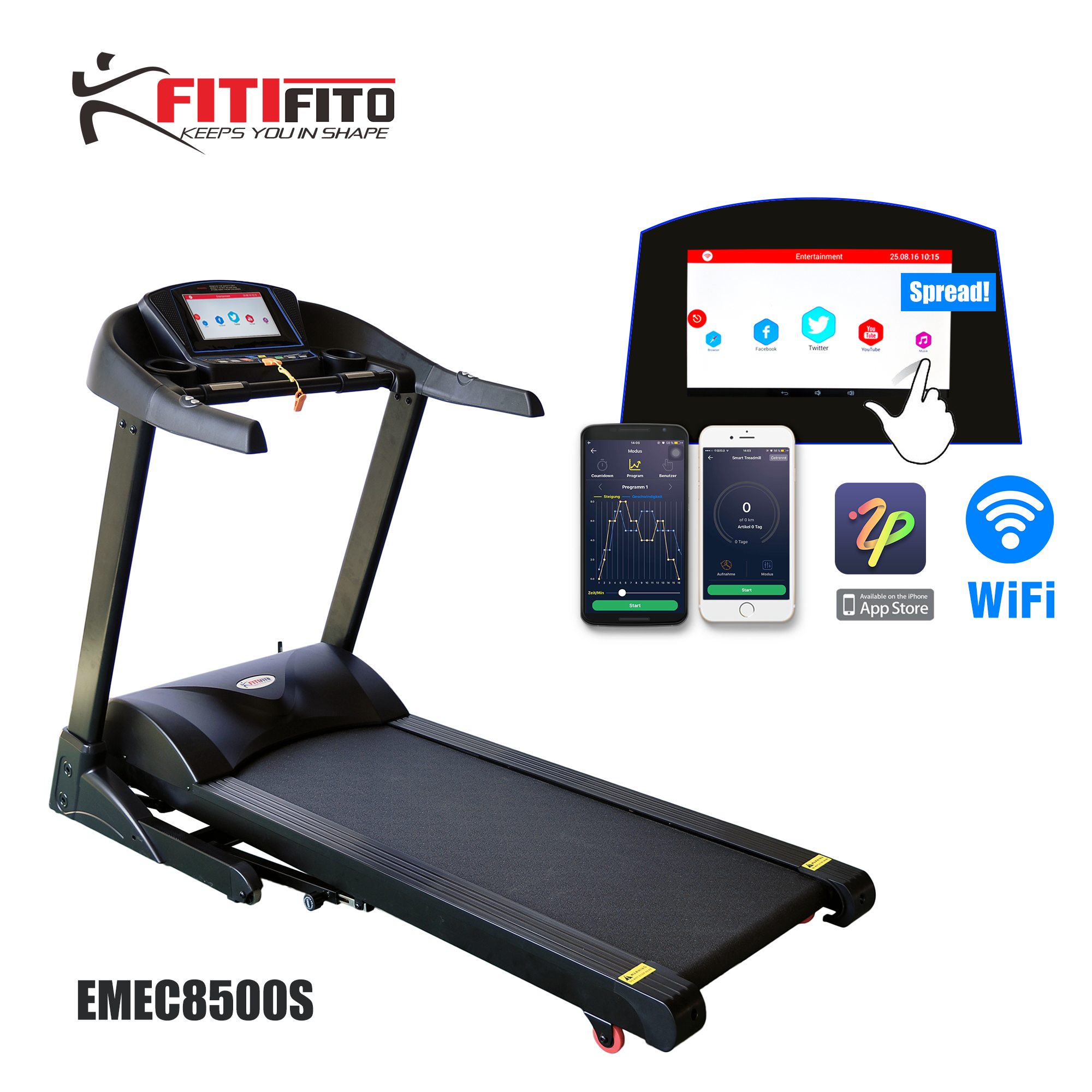 laufband fitifito 8500s profi mit wifi touchscreen app 22 trainingsmodule 7 5ps ebay. Black Bedroom Furniture Sets. Home Design Ideas